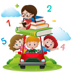 Many children on red car vector
