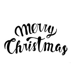 merry christmas text black typography on white vector image vector image