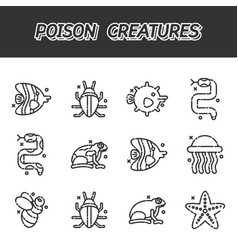 Poisonous creatures cartoon concept icons vector
