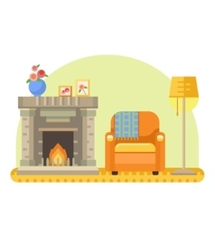 room interior with fireplace armchair and lamp vector image