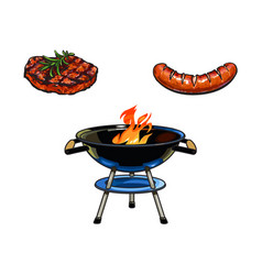 Round bbq charcoal grill beef steak and sausage vector