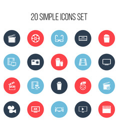 set of 20 editable filming icons includes symbols vector image vector image