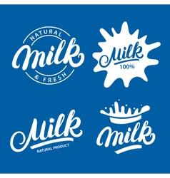 Set of Milk hand written lettering logo label or vector image vector image