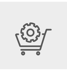 Shopping cart with gear thin line icon vector image