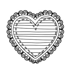 Silhouette heart shape with lines pattern curl vector