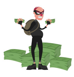 Thief in a mask on the background of a pile of vector