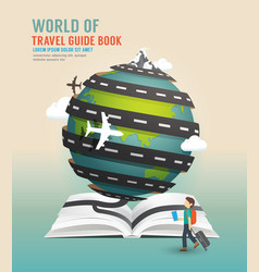 World travel design open book guide concept vector image