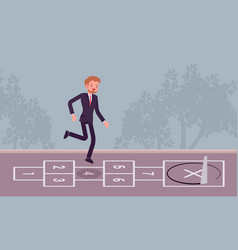 Young carefree businessman playing hopscotch vector