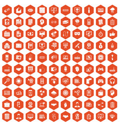 100 web development icons hexagon orange vector