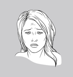 Sad face of a young woman vector