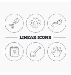 Scissors shovel and gloves icons vector