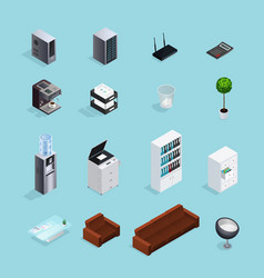 Colored office supplies isometric icon set vector
