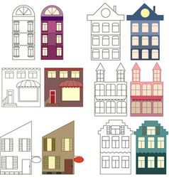 Set of outlined and colored houses separated vector