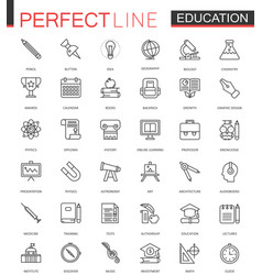 School university education thin line web icons vector