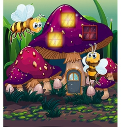 Dragonflies near the enchanted mushroom house vector