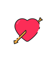 Flat color love icon vector