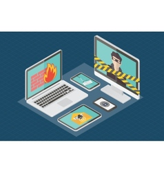 Isometric internet security vector