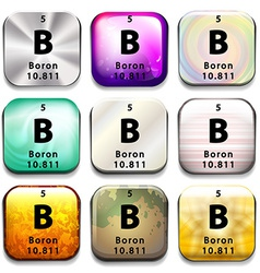 A periodic table button showing boron vector