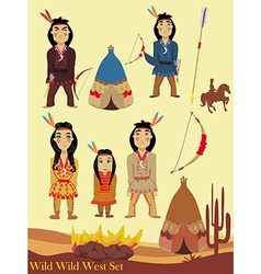 Cartoon characters indian wild west collection vector