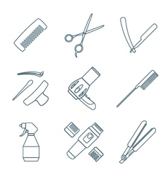 Hairdresser tools dark color outline icons set vector