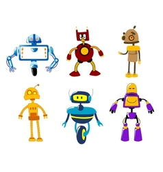 Set of cute colorful retro robot toys vector