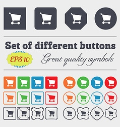 Shopping basket icon sign big set of colorful vector