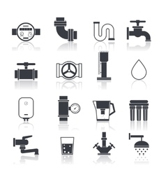 Water supply icons black vector