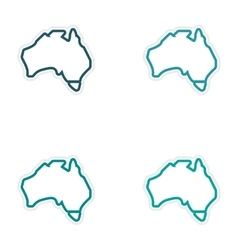 Set of stickers Australian map on white background vector image