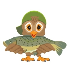 Owl holding fish Fisherman with catch vector image