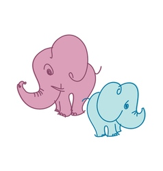 Cute little elephant in pastel color vector