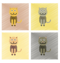 Assembly flat shading style icons pet cat vector