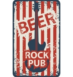banner for rock pub with an electric guitar vector image
