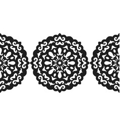 black silhouette of a snowflake lace round vector image