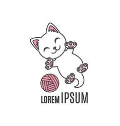 Cartoon kitten playing with ball cat logo vector