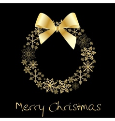 Christmas wreath with golden bow vector image