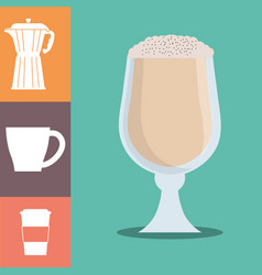 Coffee glass cup foam cold poster vector