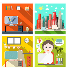 Creative business backgrounds set with computers vector