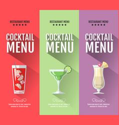 Flat cocktail menu design set of banners vector