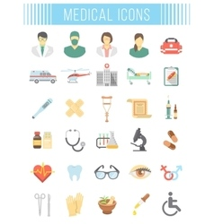 Flat medical and healthcare icons vector image vector image