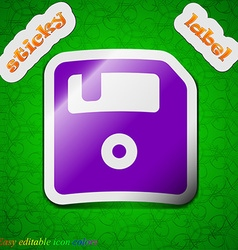 Floppy icon sign symbol chic colored sticky label vector