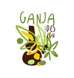 Ganja label logo graphic template vector