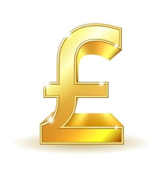 Gold sign pound currency vector image vector image