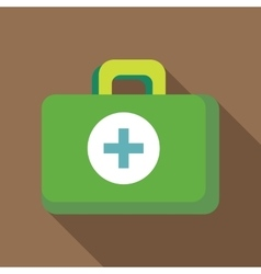 Green medicine chest icon flat style vector image