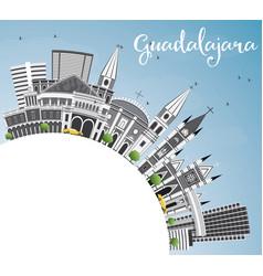 Guadalajara skyline with gray buildings blue sky vector