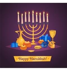 Hanukkah celebration Set of colorful elements vector image vector image