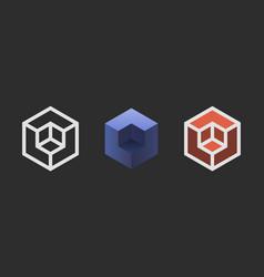 Hexagon logo design creative emblem template vector