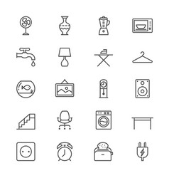 Home furniture thin icons vector