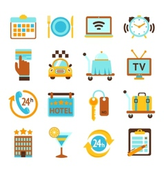 Hotel services flat icons set vector