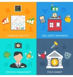 Investment flat set vector