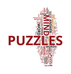 Mind puzzles brain teasers text background word vector